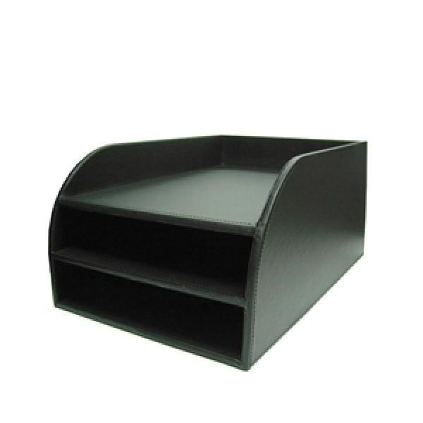 Δίσκος OSCO Εγγράφων Δερματίνη (3τεμ) Μαύρος Νο 9154