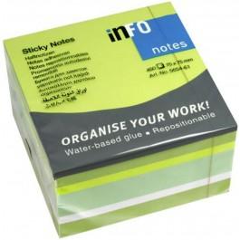 Κυβος αυτοκόλλητα χαρτάκια 450 φύλλα Info παστέλ πράσινο 5654-61 75x75mm