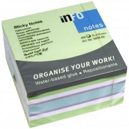 Κυβος αυτοκόλλητα χαρτάκια 450 φύλλα Info παστέλ γαλάζιο-πράσινο 5654-62 75x75mm