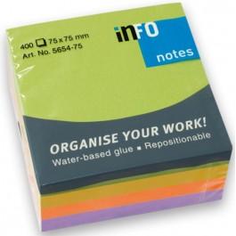 Κυβος αυτοκόλλητα χαρτάκια 400 φύλλα Info έντονα χρώματα 5654-75 75x75mm
