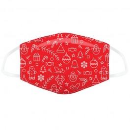 Μάσκα προστασίας Large με αυξομειωτή πολλαπλών χρήσεων Red Christmas Icons