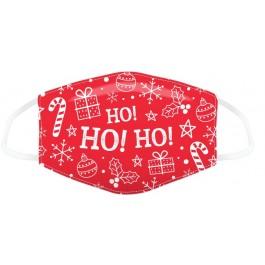 Μάσκα προστασίας Large με αυξομειωτή πολλαπλών χρήσεων HO HO HO Red Christmas